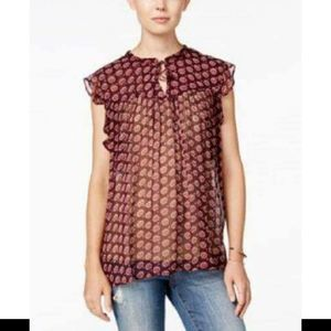 LUCKY BRAND Burgundy Floral Tie Front Sheer Top S